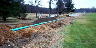 open field cesspool installation